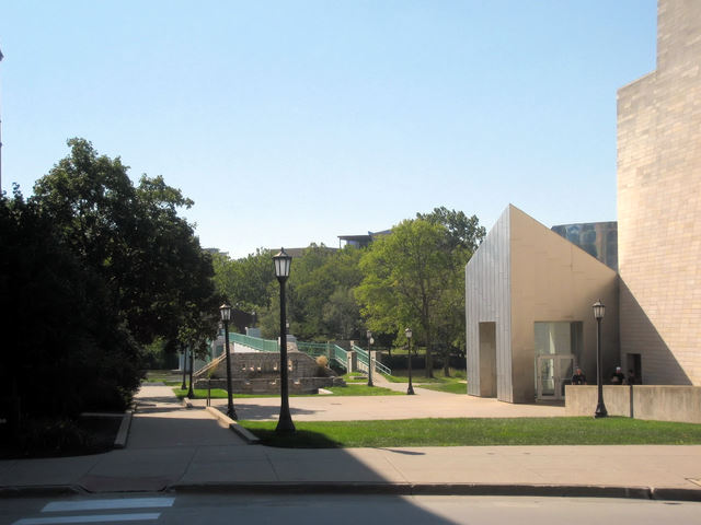View of Hubbard Park from N Madison St - downtown Iowa City